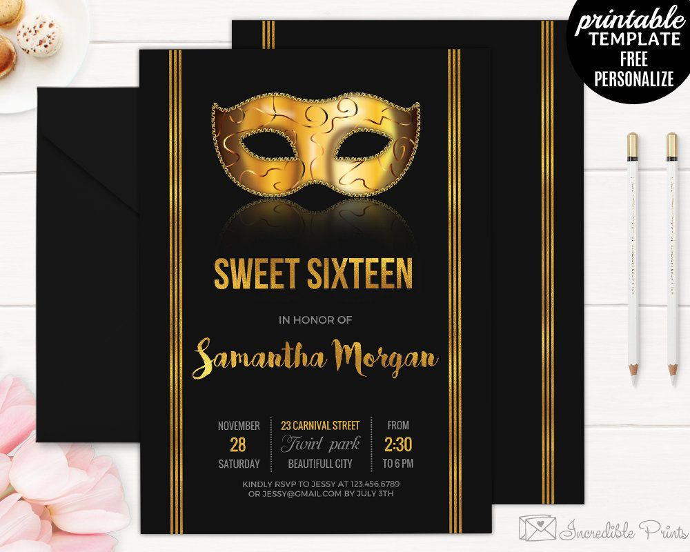 Sweet Sixteen Invitation Template. Golden Mask Masquerade Party ...
