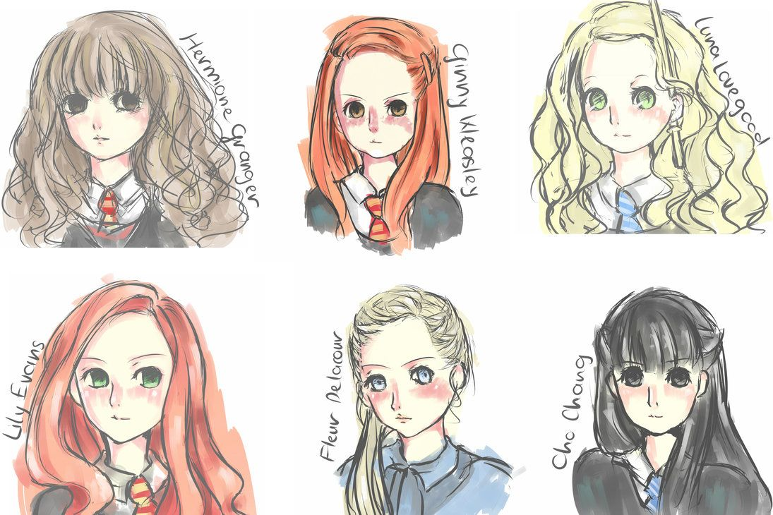 [Quick doodle] Girls in Harry Potter by Nivilia on