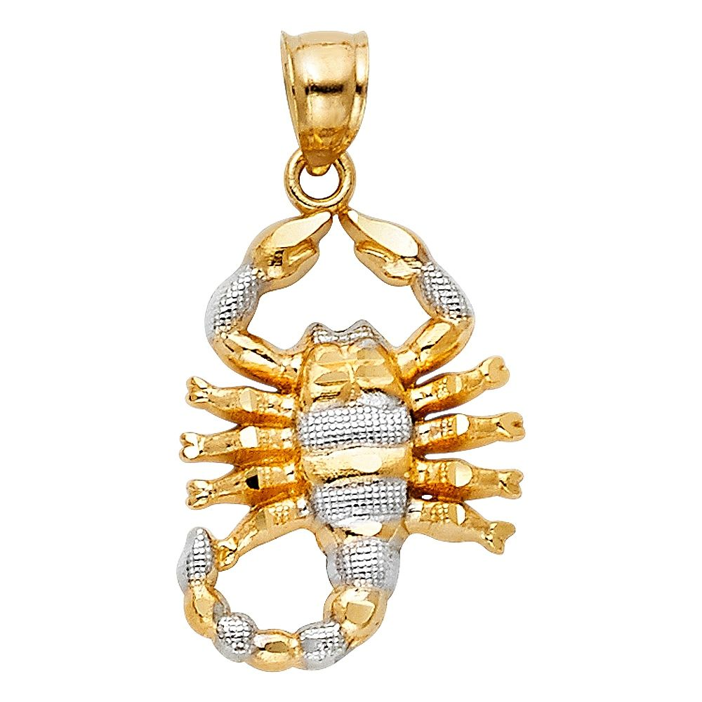 Zodiac Sign Charm Or Pendant With White Simulated Diamonds 925 Sterling Silver and Yellow Gold Plating Scorpio Pendant Scopion