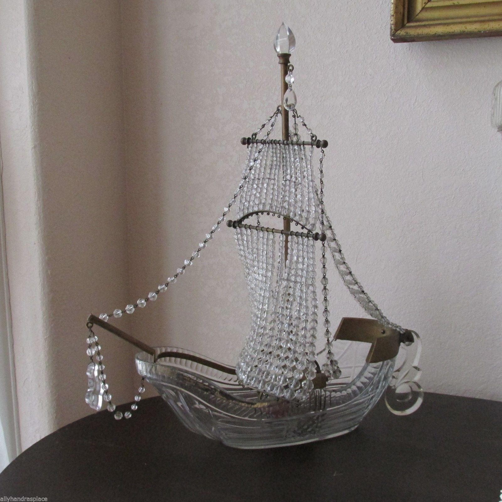 Antique French Figural Lamp Beaded Ship Galleon Boat