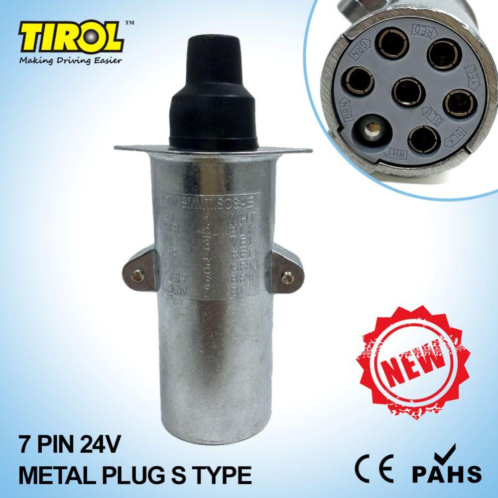 Tirol T23413a New 7 Pin 24v Metal Trailer Plug S Type Wiring A Towbar Socket Connector Tow Bar Towing
