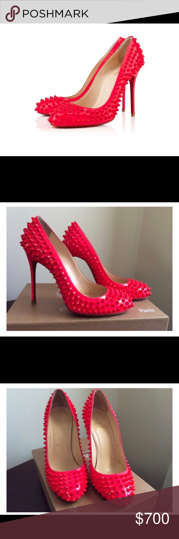 7b45998ef0d Christian Louboutin Fifi Spike Pumps Hot pink. Worn 3 times ...