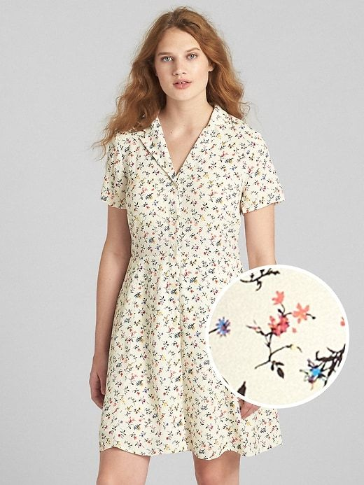 f13bad9ea Gap Womens Fit And Flare Button-Front Floral Print Dress White ...