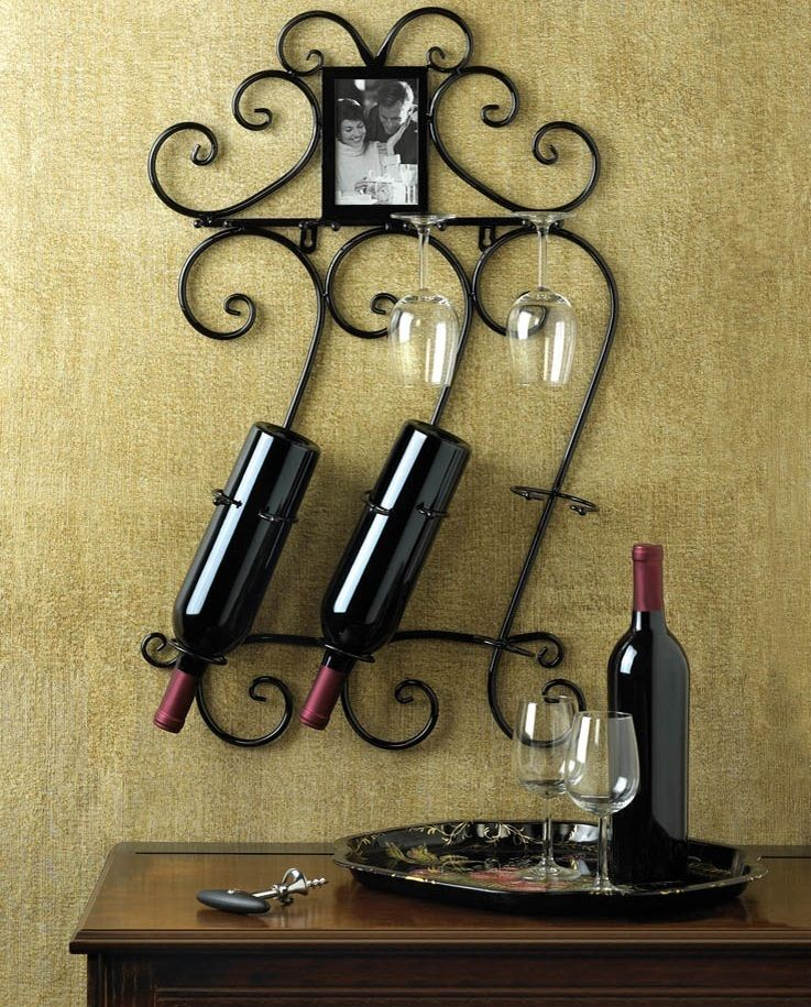 Wine Glass and Bottle Holder Wall Mounted ALSO has a picture frame at the top