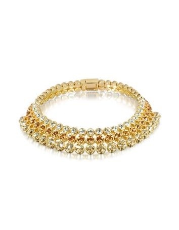 Three-tone Choker -  Three-tone Choker AZ Collection AZ Collections gold-plated collar necklace features brilliant rows of SWAROVSKI ELEMENTS in white, bronze and champagne hues. A polished finish and large, hidden push button clasp round out the rich look. Nickel free. Signature box included. Made in...