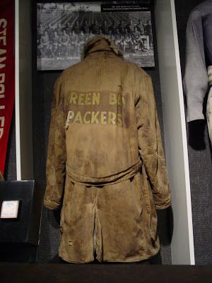 separation shoes a8750 44b01 Packers sideline jacket in the Pro Football Hall of Fame. It ...