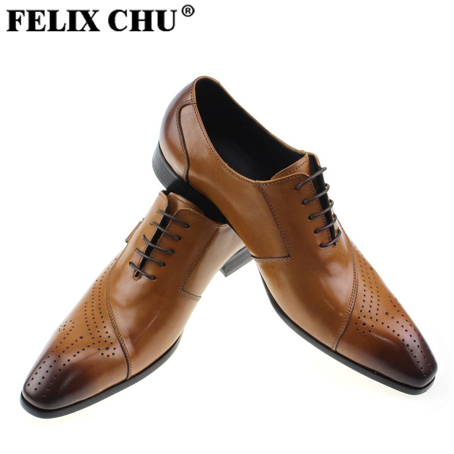 0e3b320d60a FELIX CHU Luxury Italian Designer Black Brown Brogue Genuine Leather Lace  Up Mens Formal Dress Party Office Wedding Shoes 188-89
