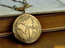 Messing Globus Medaillon Medaillon Welt Geschenkidee für Reisende und Weltenbummler