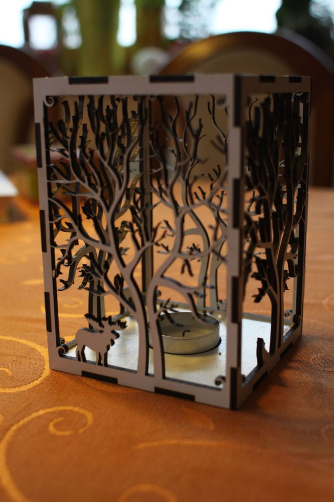 Laser Cut Candle Holder Tree Animals By Rumo
