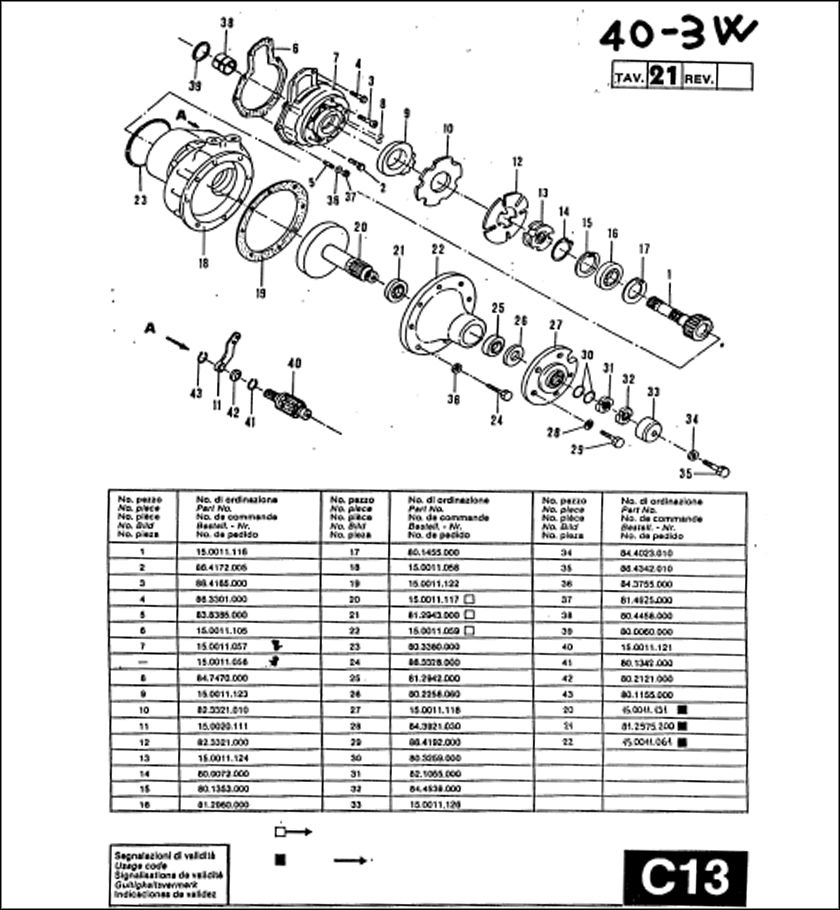 Ferrari Tractor 40-3W Parts Manual for 1987 Download in
