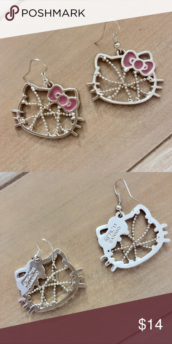 add9e7d3a Sanrio Hello Kitty Silver Tone Pieced Earrings Up for sale is one pair of  earrings as
