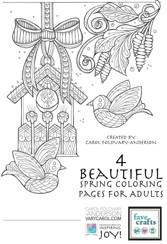 4 Beautiful Spring Coloring Pages For Adults Free Printable Pdf Ebook Spring Coloring Pages Bird Coloring Pages Flower Coloring Pages