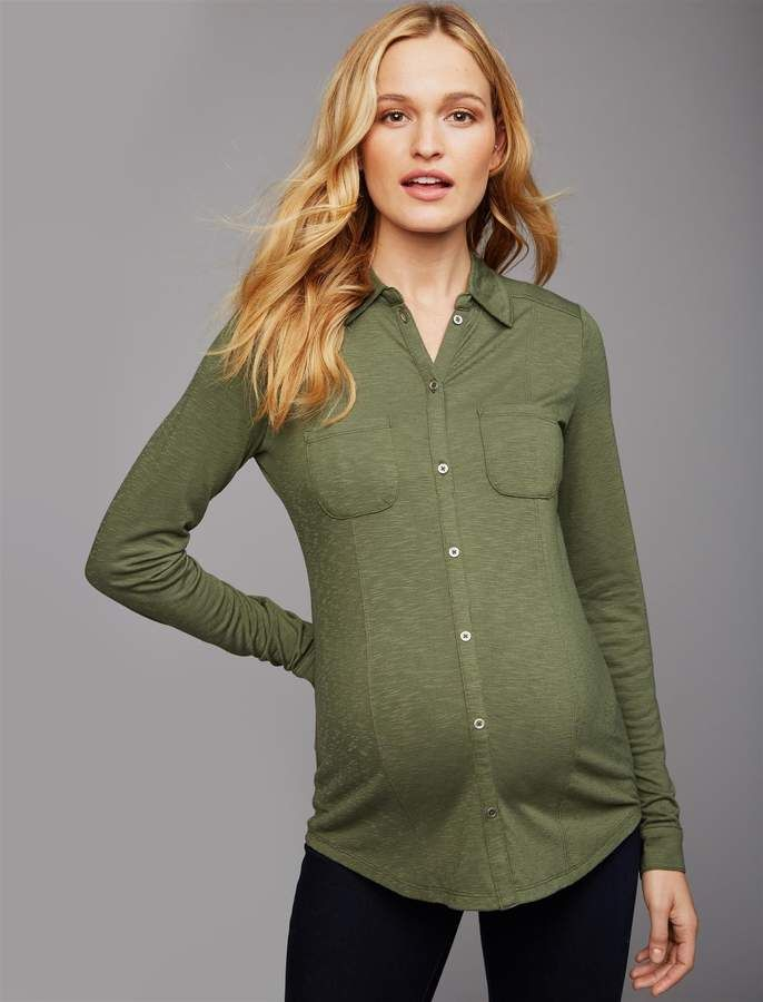 a3afb9ee2385c A Pea in the Pod Luxe Essentials Slub Maternity Shirt in 2019 ...