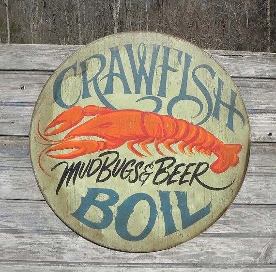 Crawfish boil sign original wooden faux by
