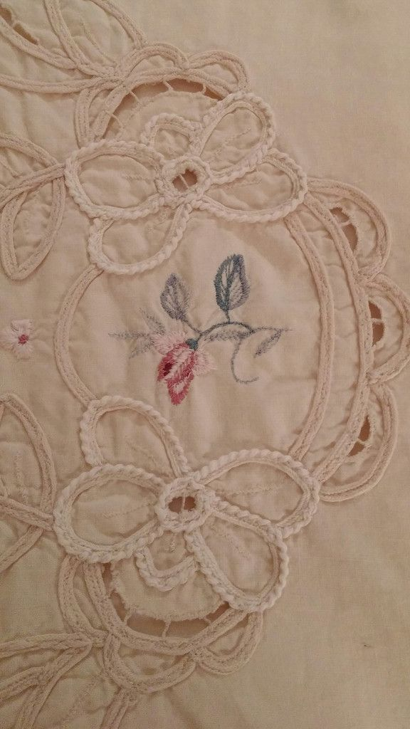 King Size Vintage #Pillow Shams have delicate cutouts with pink & blue embroidery and scalloped edging trim.  100% Cotton in a darker cream color.  Back has fold over flap with envelope closure. Gently Used.  So pretty for your bed!!  These remind me of Imperial Elegance, Battenburg  type pillow shams.