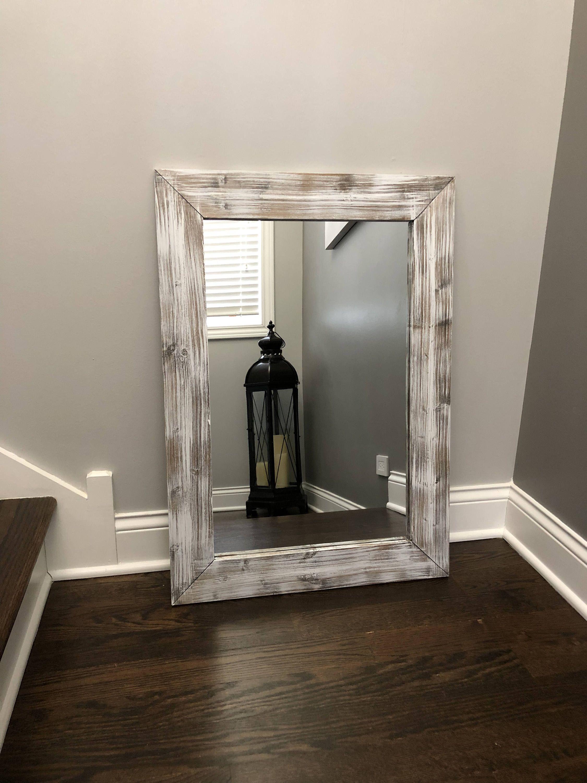 Whitewash Mirror Wood Frame Mirror Rustic Wood Mirror Etsy In 2021 Wood Framed Mirror Mirror Wall Rustic Wall Mirrors