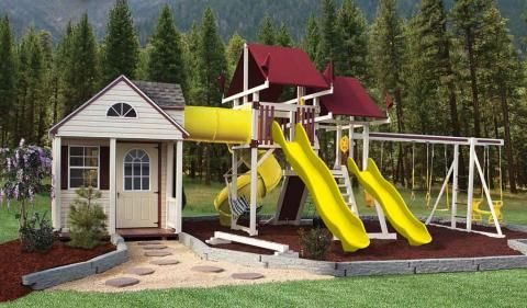 Storage shed playhouse combo design sk 60 cottage escape for Storage shed playhouse combo plans