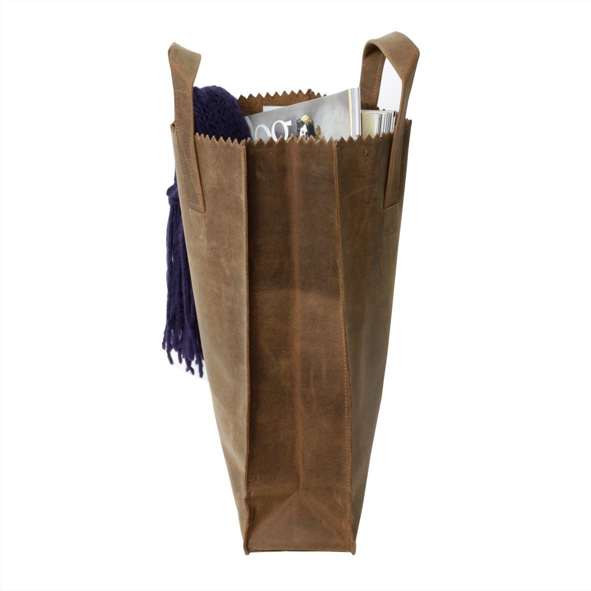 leather 'paper' bag