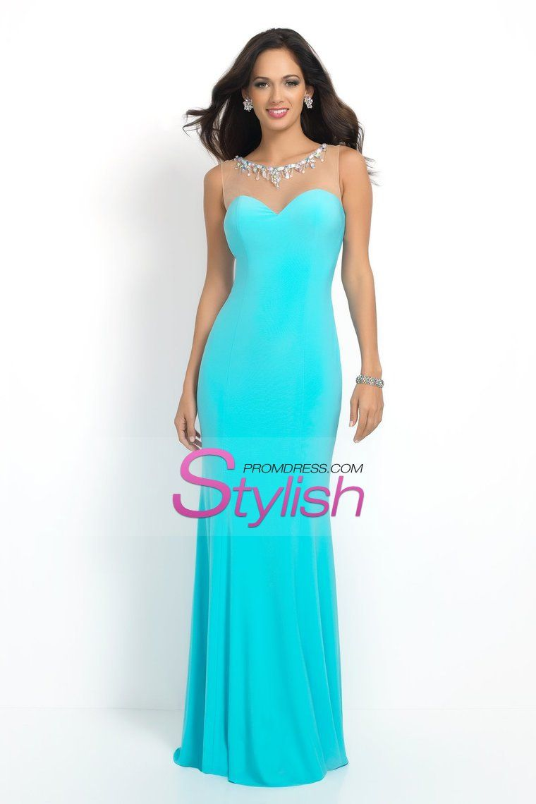 2015 Low Back Prom Dresses Sheath With A Bib Of Crystal Beading ...