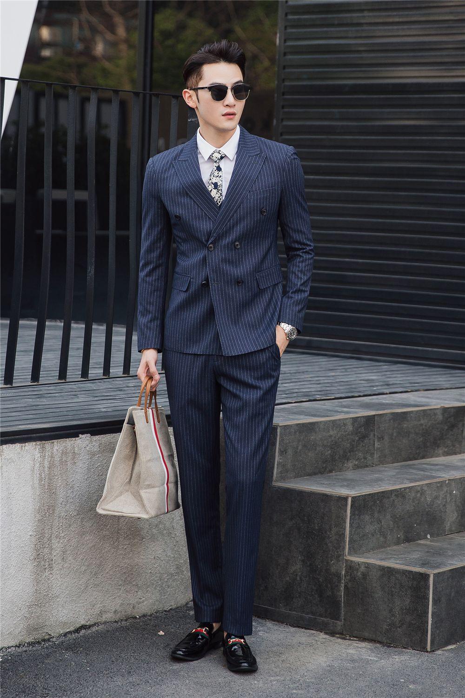 287e1298fbd Striped 3PCS Mens Suits Double Breasted Business Suit Men Peak Lapel Plus  Size Casual Costume Homme 6031