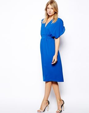 Image 4 of Love Kimono Midi Dress with Tie Waist