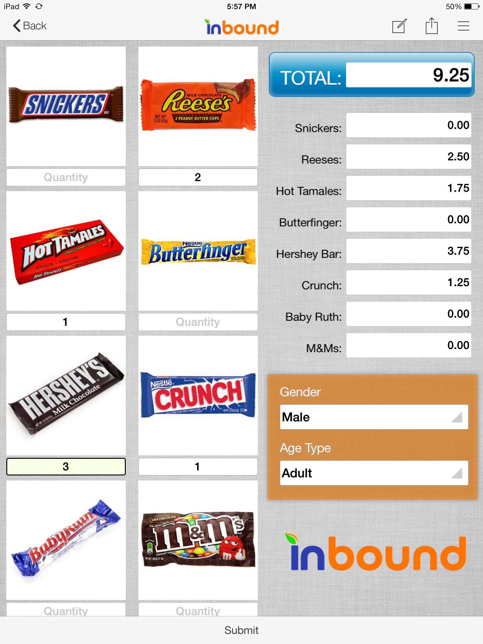 Example cash register form for iPad on inBound app