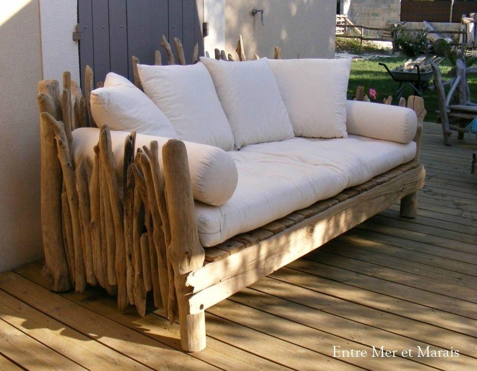canap en bois flott 1 2300 longueur 210 cm hauteur 80 90cm profondeur hors bois 1m. Black Bedroom Furniture Sets. Home Design Ideas