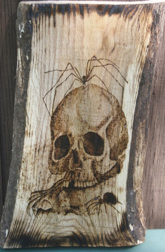 Skull Spider Wood Burning Wall Hanging by hippiescreations on Etsy, $60.00