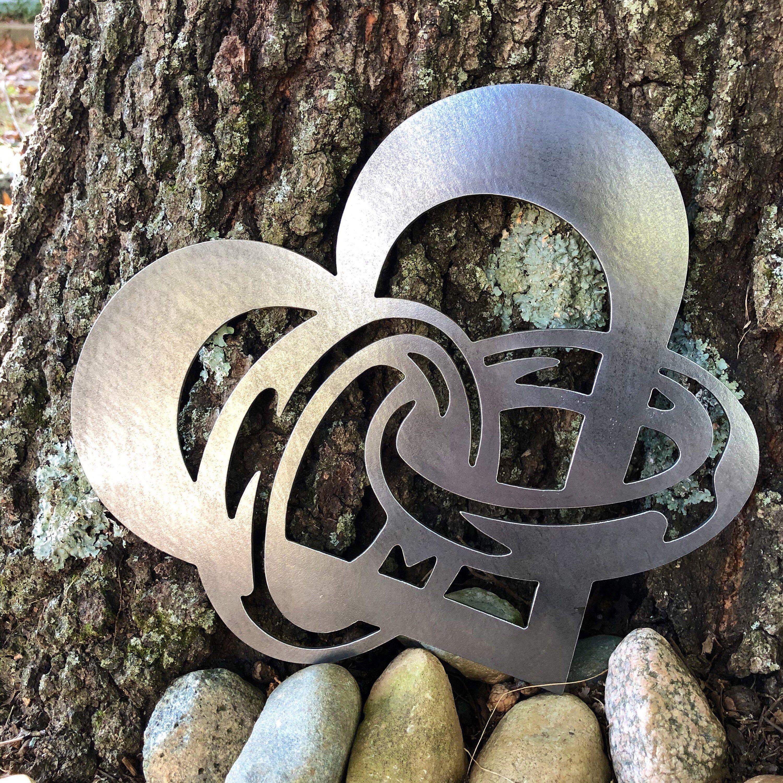 Heart And Interlocked Wedding Rings Bride And Groom Metal Home