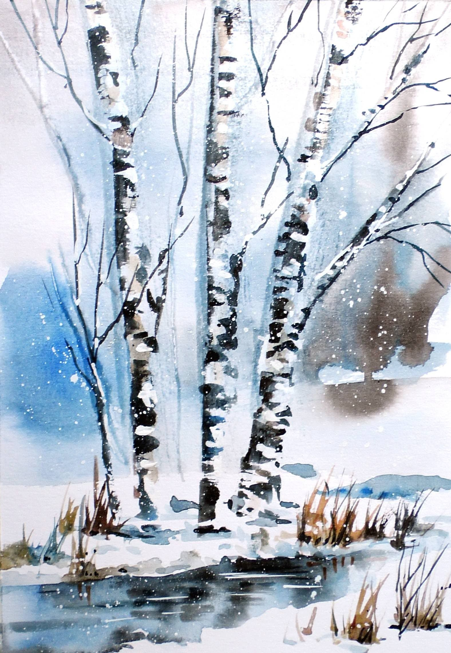 Watercolor Time Lapse Videos Winter Spirit Painting Demonstration Winter Landscape Painting Winter Watercolor Winter Painting