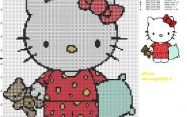 Hello Kitty dormir grille point de croix