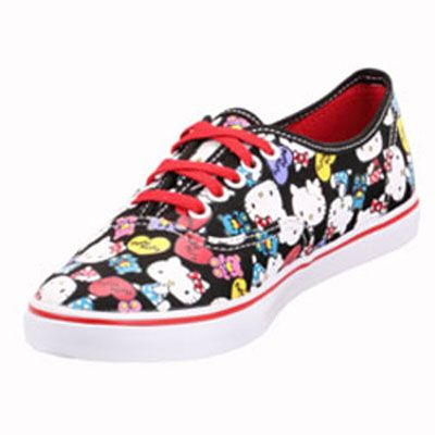 Vans VN-0QES66Z Authentic Lo Pro Hello Kitty Black Red Shoe   74.99 ! Buy  now at GetShoes.ca 6b28e4288