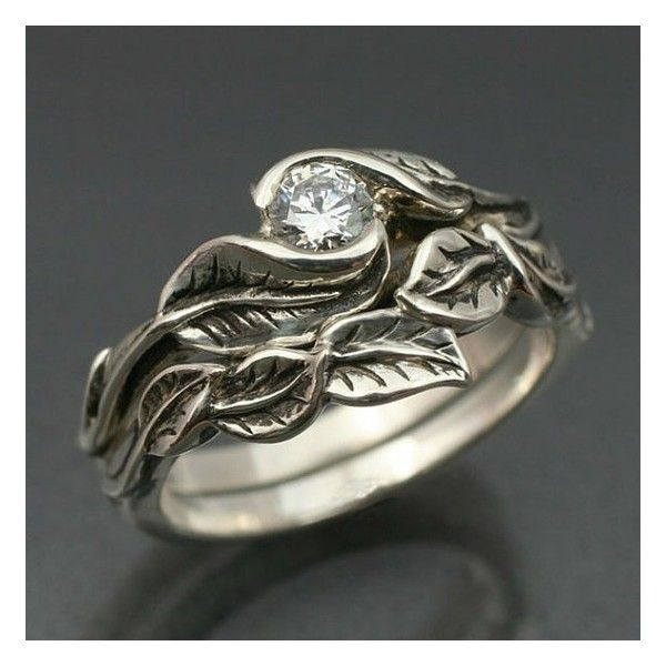 WEDDING RING SET -Delicate Leaf Engagement ring with matching ...