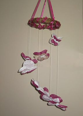 A lovely mobile for baby. How to make a butterfly mobile. An easy and inexpensive DIY project!