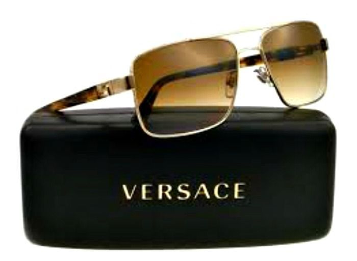 48f368dffa2e5 Authentic Italy Versace Sunglasses Men Aviator Pale Gold Crystal Brown  Gradient  Versace  Aviator