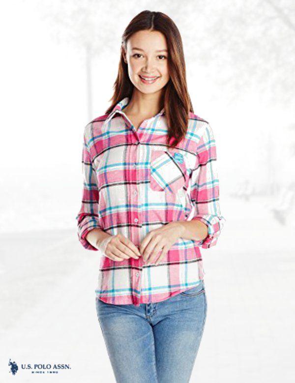d251d1a8ada U.S. Polo Assn. Juniors Long Sleeve Brushed Flannel Plaid Contrast Pocket  Shirt