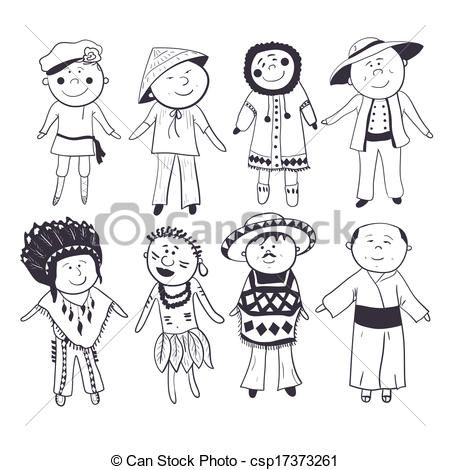 Clip Art Vector Of Cartoon Kids In Different Traditional Costumes Cartoon Csp17373261 Search Clipart Illustrati Cartoon Kids Free Illustrations Cartoon