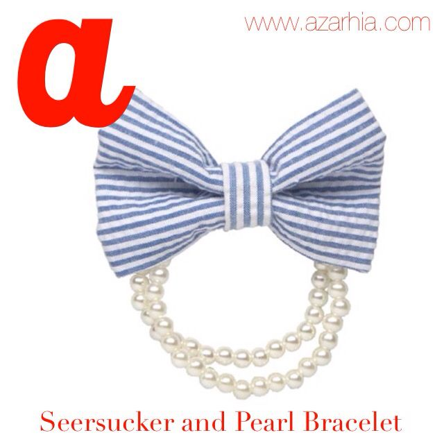 Blue Seersucker and faux pearl bracelet, Azarhia