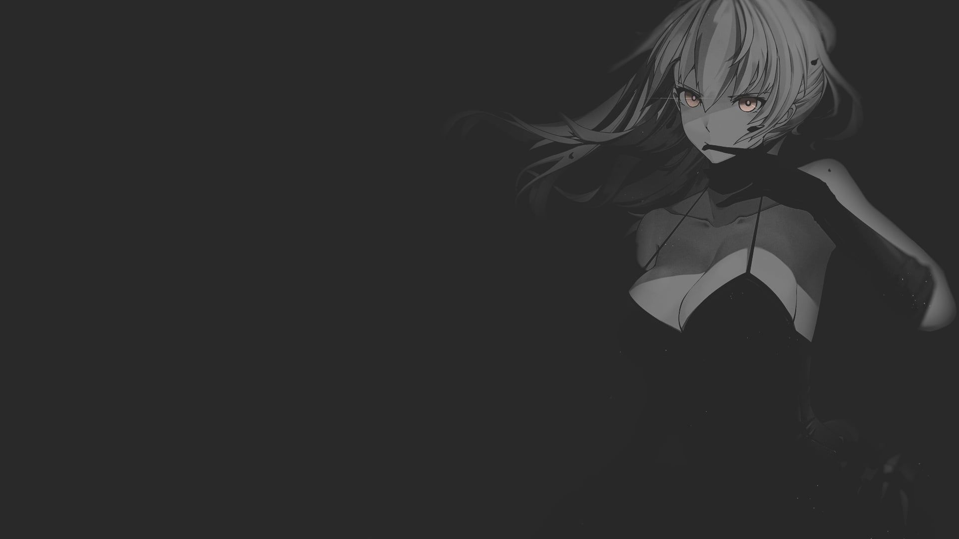 Wallpaper Fate Stay Night Anime Illustration Minimalism Texture Black Background In 2020 Anime Monochrome Anime Background Anime Wallpaper