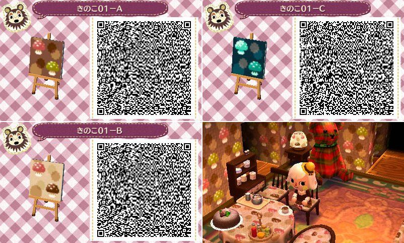 Mushroom Pattern Animal Crossing Qr Animal Crossing Qr Codes