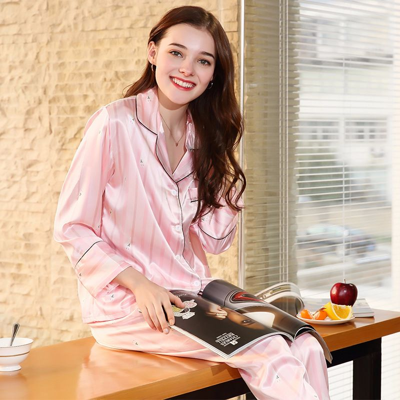 c4f147aa4d Free Shipping New Spring Women Pajamas 2018 Brand Pajama Set Faux Silk  Ladies Pajamas Pants Sleep Lounge Woman Home Cloth TZ680.