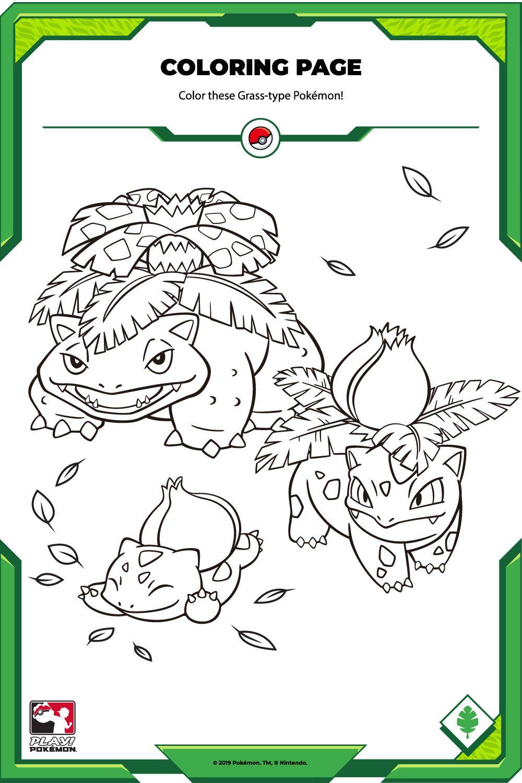 Color These Grass Type Pokemon Pokemon Coloring Pages Grass Type Pokemon Type Pokemon