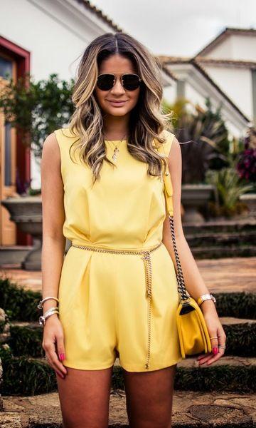 928bb22a5 Look: Thassia Naves - Macaquinho Amarelo | Verão | Vestidos de moda ...