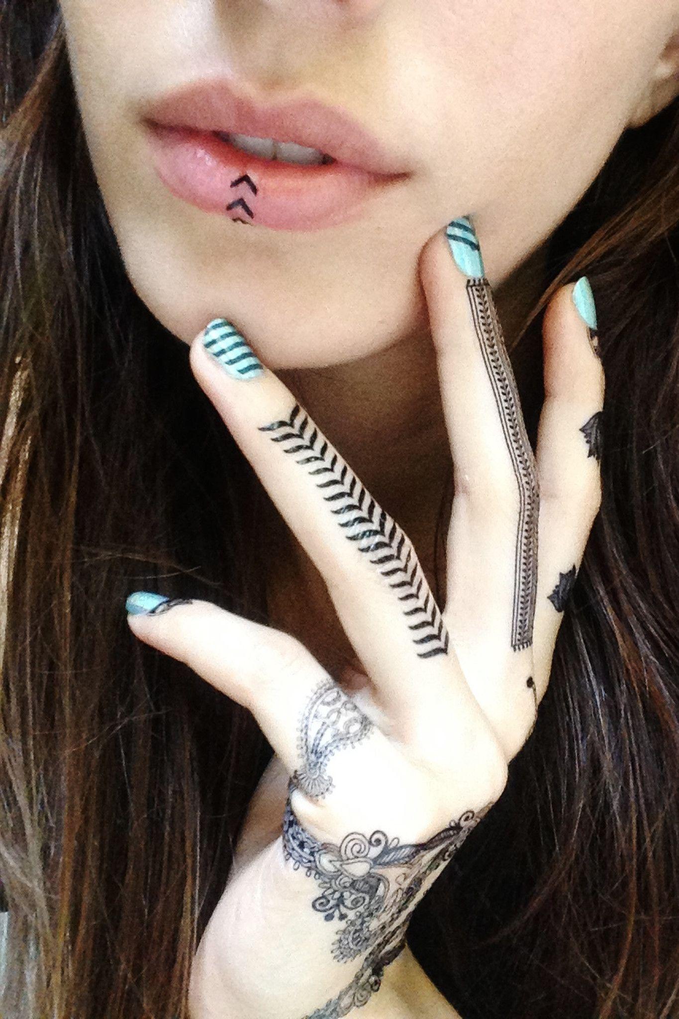 Black henna temporary tattoo tribal jewels henna for Temporary finger tattoos