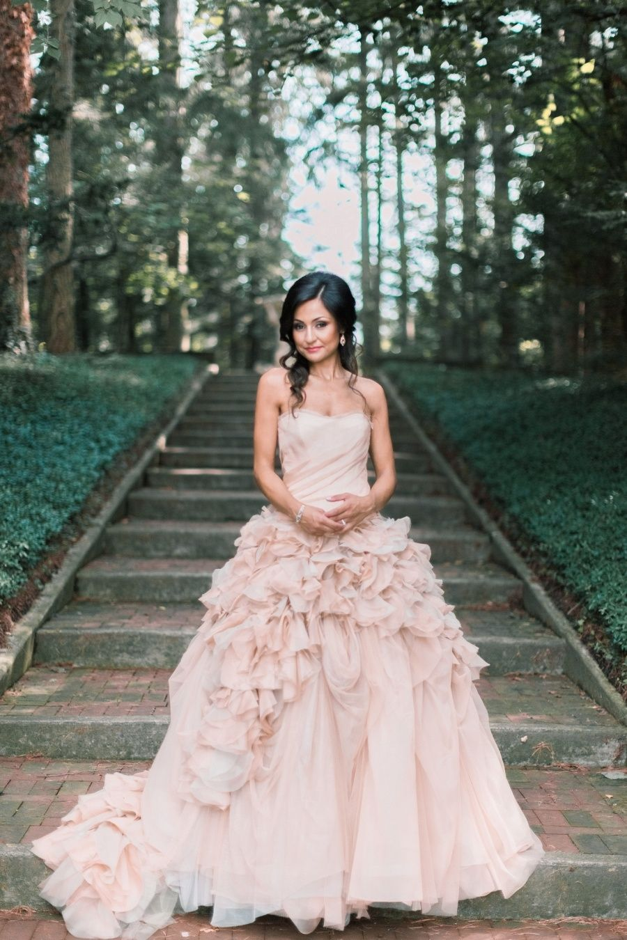 Vera wang pink wedding dress  Elegant Cranbrook Gardens u Art Museum Wedding  Museum wedding