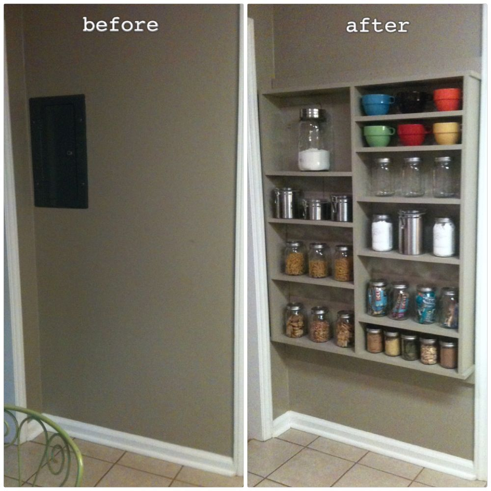 Effective Pantry Shelving Designs For Well Organized: Shallow Open Pantry Shelves In Kitchen