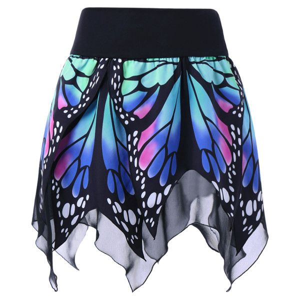 92e168dba09 Butterfly Print Handkerchief Skirt Blue ( 13) ❤ liked on Polyvore featuring  skirts