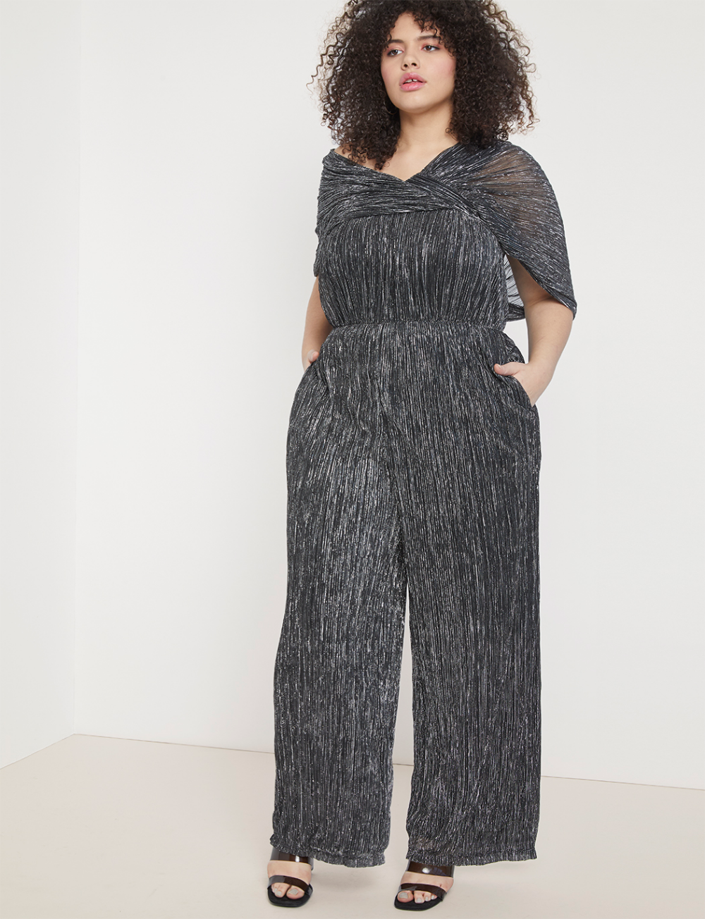 shimmer tiered leg jumpsuit | women's plus size dresses