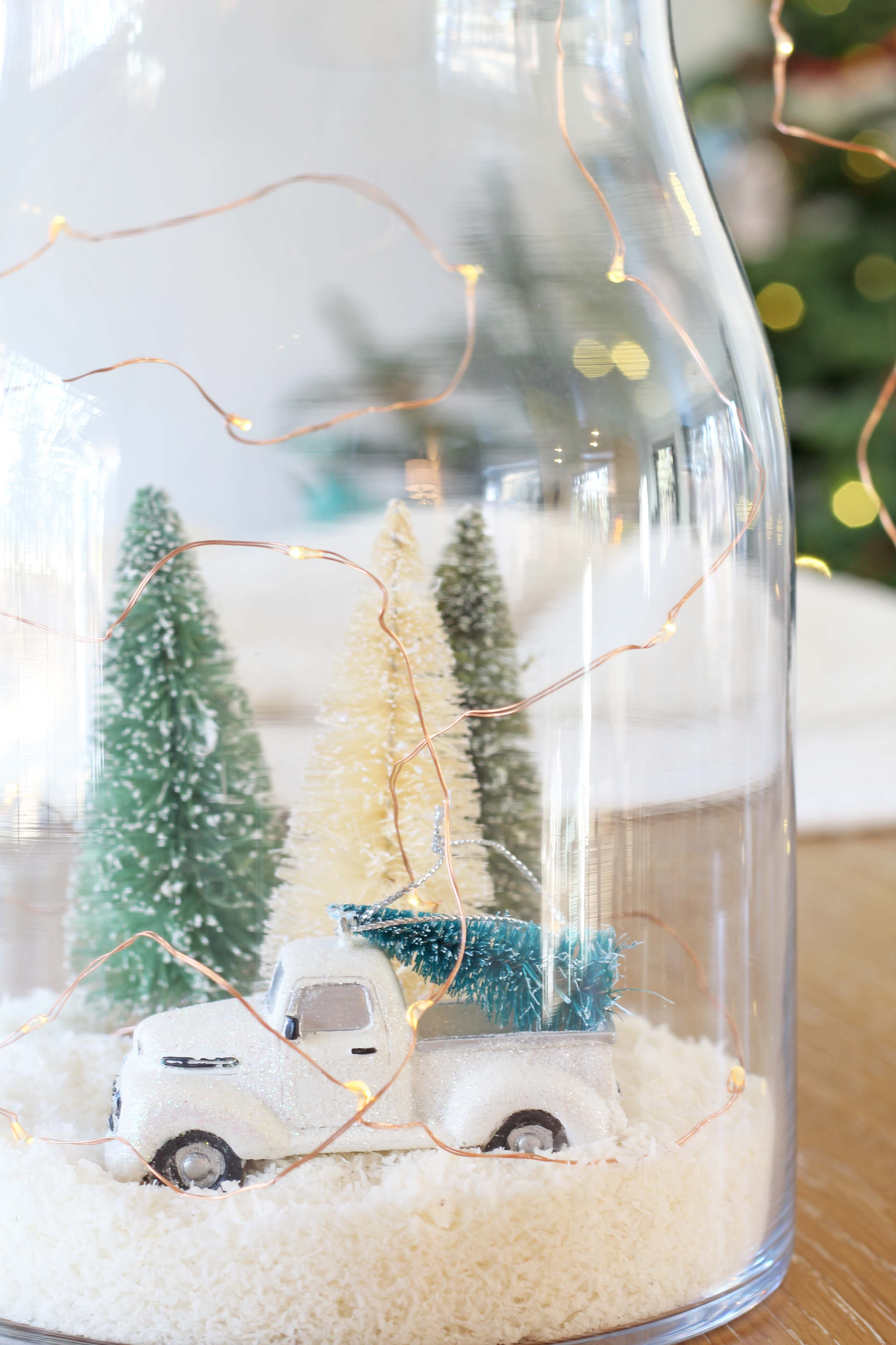 A Cozy Winter Snow Scene Jar With Images Diy Snow Globe
