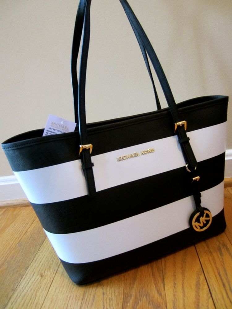 7c43410ec184 Michael Kors Black White Stripe Saffiano Jet Set Small Travel Tote Handbag  NW #Handbag #Michaelkors #Fashion
